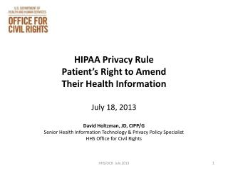 HIPAA Privacy Rule  Patient's Right to Amend Their Health Information