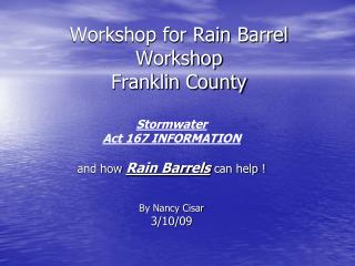 Workshop for Rain Barrel Workshop  Franklin County