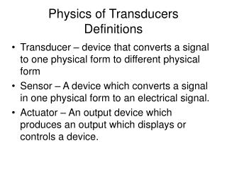 Physics of Transducers  Definitions