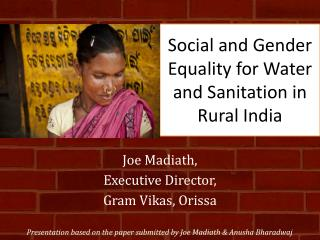 Social and Gender Equality for Water and Sanitation in Rural India