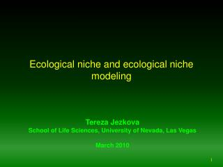 Ecological niche and ecological niche modeling