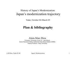 History of Japan's Modernization: Japan's modernization trajectory
