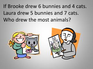 If Brooke drew 6 bunnies and 4 cats. Laura drew 5 bunnies and 7 cats. Who drew the most animals?
