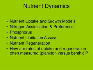Nutrient Dynamics