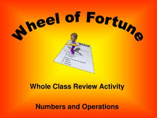 Whole Class Review Activity Numbers and Operations