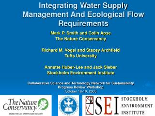 Integrating Water Supply Management And Ecological Flow Requirements