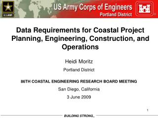 Data Requirements for Coastal Project Planning, Engineering, Construction, and Operations