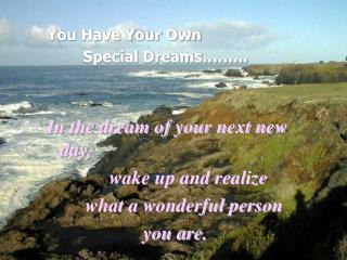 You Have Your Own         Special Dreams��... In the dream of your next new day,