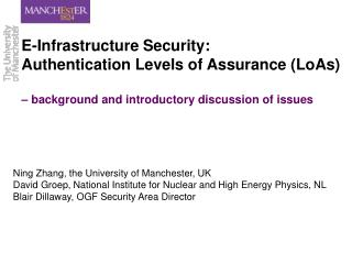 E-Infrastructure Security: Authentication Levels of Assurance ...
