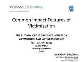 Common Impact Features of Victimisation