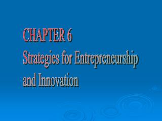CHAPTER 6 Strategies for Entrepreneurship and Innovation