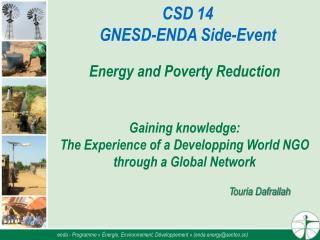 enda - Programme «Énergie, Environnement, Développement» (enda.energy@sentoo.sn)