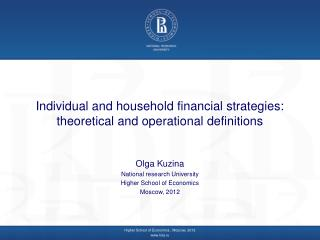Individual and household financial strategies: theoretical and operational definitions