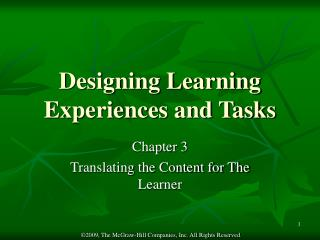 Designing Learning Experiences and Tasks