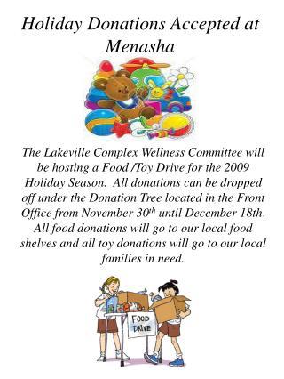 Holiday Donations Accepted at Menasha