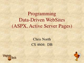 Programming  Data-Driven WebSites (ASPX, Active Server Pages)