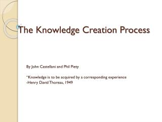 The Knowledge Creation Process