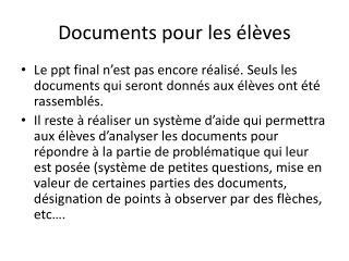 Documents pour les élèves