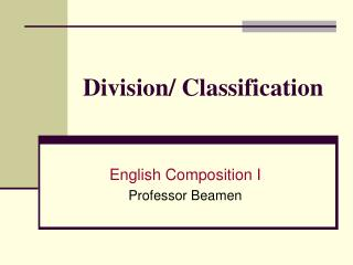 Division/ Classification