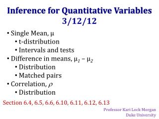 Inference for Quantitative Variables 3/12/12