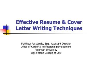 Effective Resume & Cover Letter Writing Techniques
