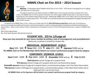 WBMS  Choir on Fire  2013 – 2014 Season