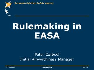 Rulemaking in EASA Peter Corbeel Initial Airworthiness Manager