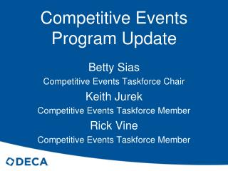 Competitive Events  Program Update