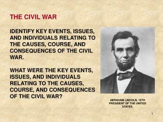 ABRAHAM LINCOLN, 16TH PRESIDENT OF THE UNITED  STATES .