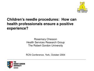 Children's needle procedures:  How can health professionals ensure a positive experience?