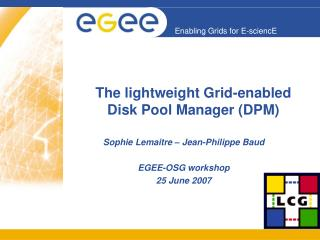 The lightweight Grid-enabled Disk Pool Manager (DPM)