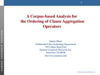 A Corpus-based Analysis for  the Ordering of Clause Aggregation Operators