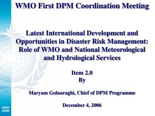 WMO First DPM Coordination Meeting