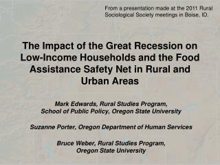 Mark Edwards, Rural Studies Program,  School of Public Policy, Oregon State University