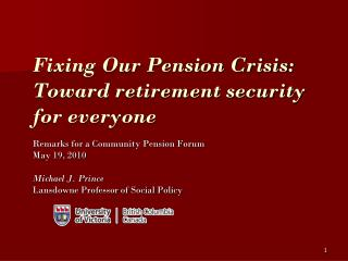 Fixing Our Pension Crisis: Toward retirement security for everyone