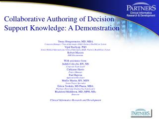 Collaborative Authoring of Decision Support Knowledge: A ...