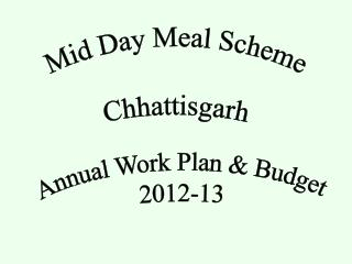 Annual Work Plan & Budget 2012-13
