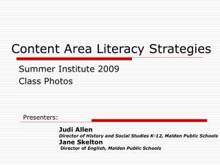 Content Area Literacy Strategies