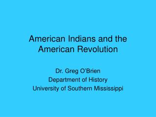 American Indians and the American Revolution