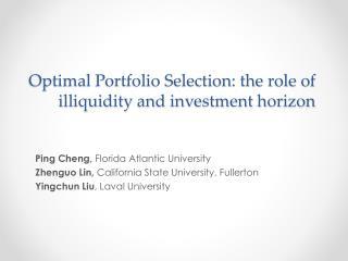 Optimal Portfolio Selection: the role of illiquidity and investment horizon