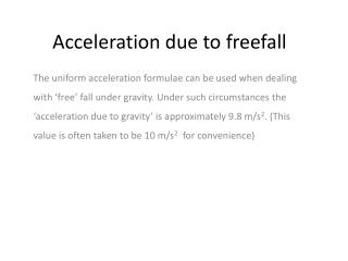 Acceleration due to freefall
