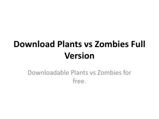 Download Plants vs Zombies Full Version