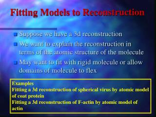 Fitting Models to Reconstruction