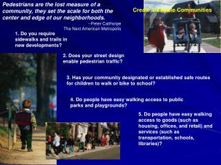 Create Walkable Communities