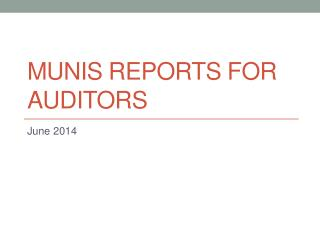 MUNIS Reports for Auditors