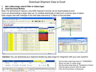 Download Shipment Data to Excel