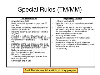 Special Rules (TM/MM)