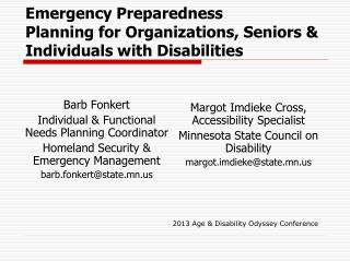 Emergency Preparedness Planning for Organizations, Seniors & Individuals with Disabilities