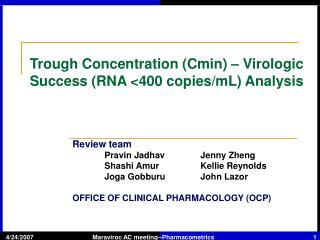 Trough Concentration (Cmin) – Virologic Success (RNA <400 copies/mL) Analysis