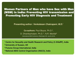Presenting author : Venkatesan Chakrapani, M.D. 1 Co-authors:  Paul Boyce, Ph.D. 2 ,